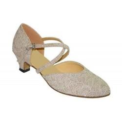 Sasha : Chaussures de danse avec un tissu beige et un autre tissu resille argenté